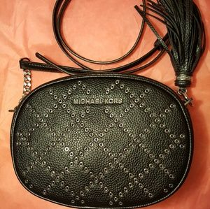Michael Kors Leather Ginny Rivets Oval Crossbody